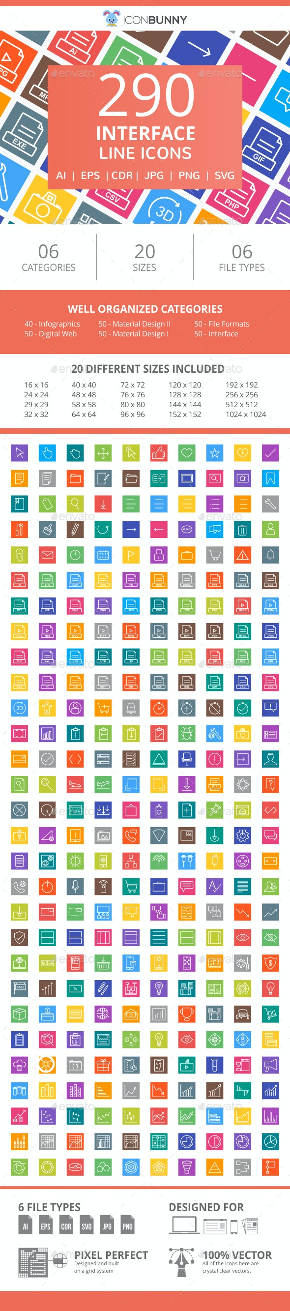 290 Interface Line Multicolor B/G Icons - Icons