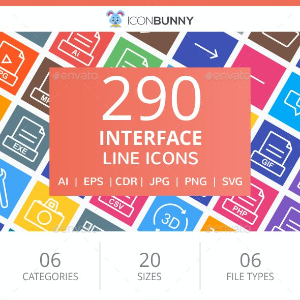 290 Interface Line Multicolor B/G Icons