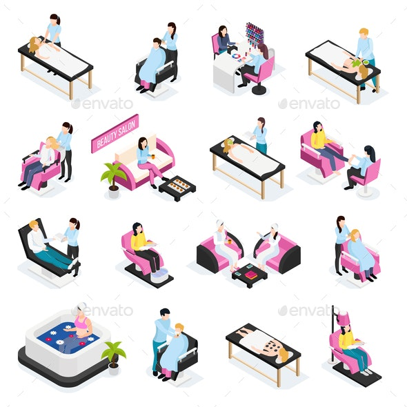 Beauty Salon Isometric Icons - Industries Business