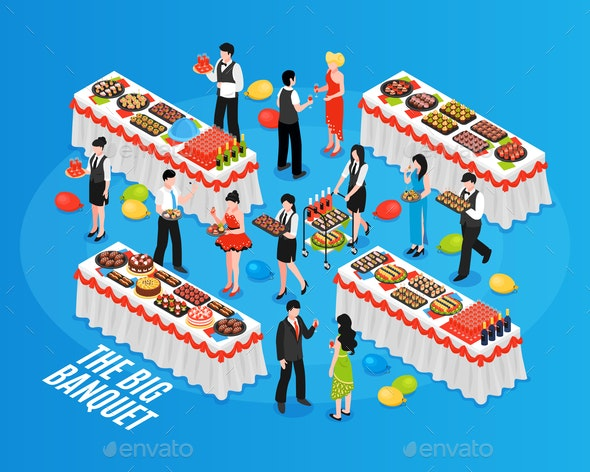 Isometric Banquet Background Composition - Food Objects