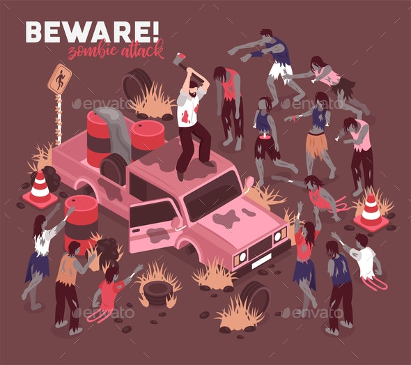 Beware of Zombies Background - Miscellaneous Vectors