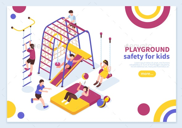 Kids Playground Isometric Concept - Sports/Activity Conceptual