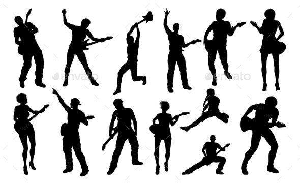 Guitarist Musicians Silhouettes Set - People Characters