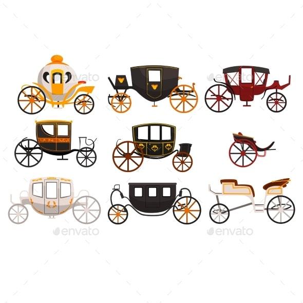 Retro Carriages Set - Miscellaneous Vectors