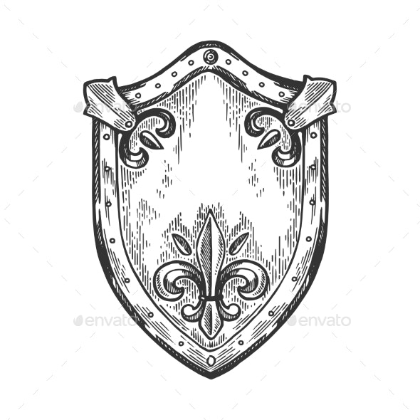 Ancient Knight Shield Engraving Vector - Miscellaneous Vectors