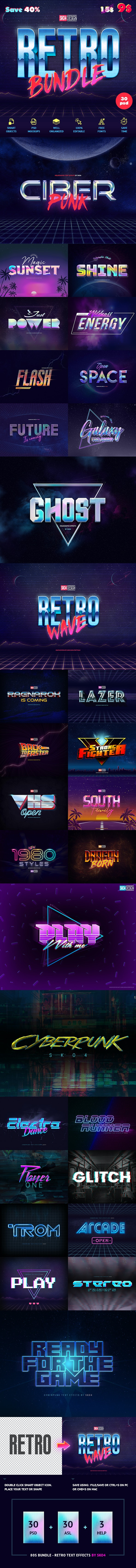 80s Retro Bundle - Text Effects - Text Effects Actions