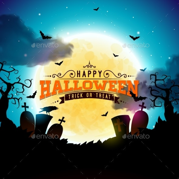 Happy Halloween Banner Illustration with Moon - Halloween Seasons/Holidays