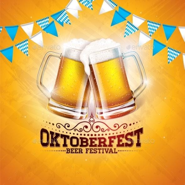 Oktoberfest Banner Illustration with Fresh Beer - Miscellaneous Seasons/Holidays