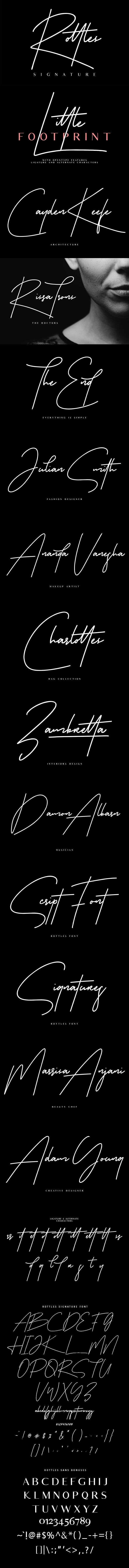 Rottles Signature Font - Calligraphy Script
