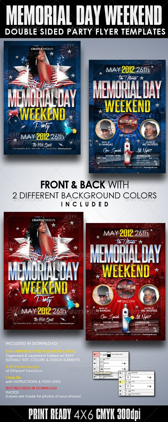 Memorial Day Weekend Party Flyer Templates - Clubs & Parties Events