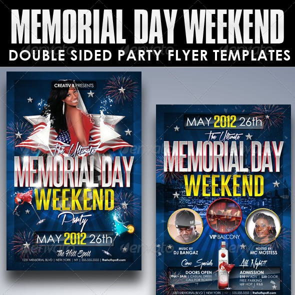 Memorial Day Weekend Party Flyer Templates