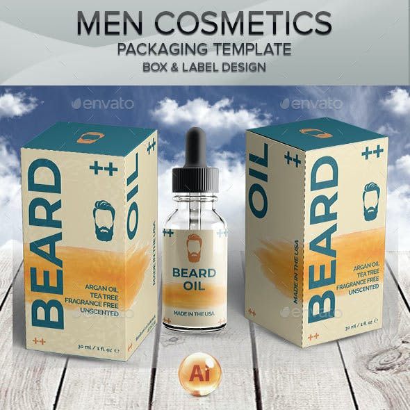 Beard Care Cosmetics - Packaging and Label Template 4
