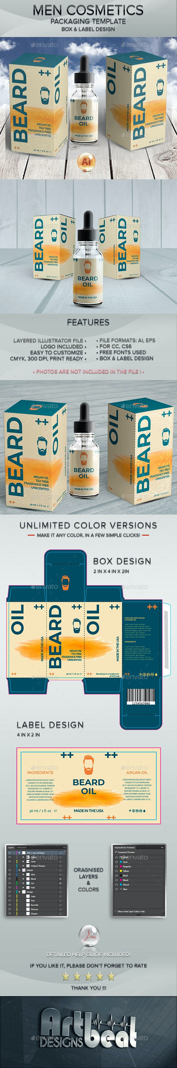 Beard Care Cosmetics - Packaging and Label Template 4 - Packaging Print Templates