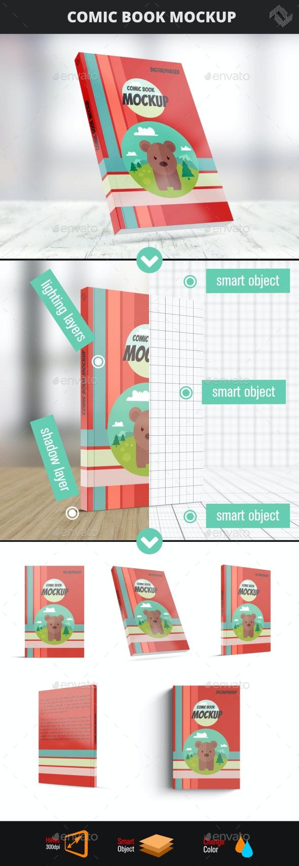 Comic Soft Cover Book Mockup - Print Product Mock-Ups
