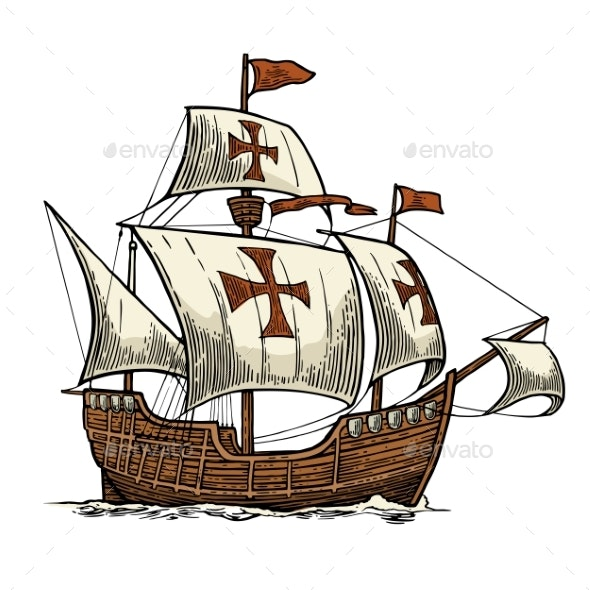 Sailing Ship Floating on the Sea Waves - Man-made Objects Objects