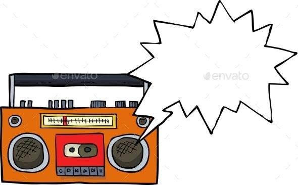 Cartoon Cassette Player - Miscellaneous Vectors
