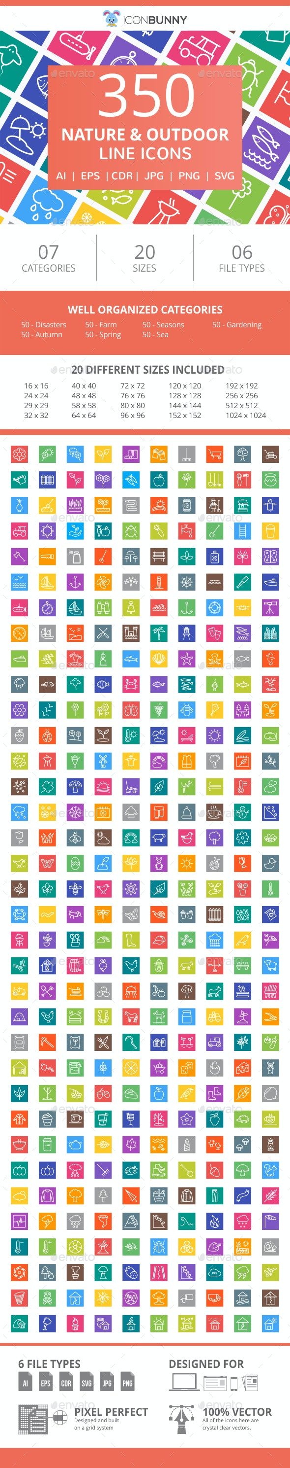 350 Nature & Outdoor Line Multicolor B/G Icons - Icons