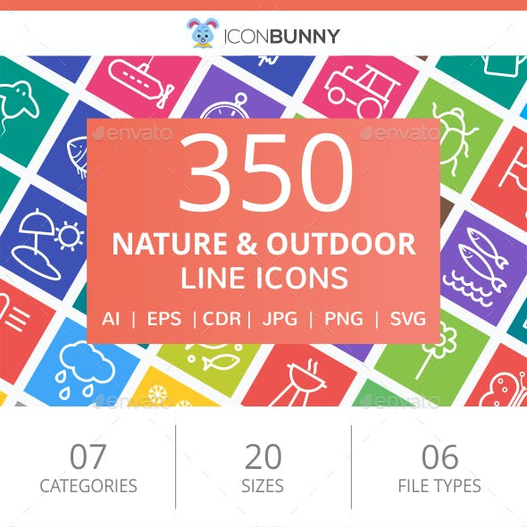 350 Nature & Outdoor Line Multicolor B/G Icons