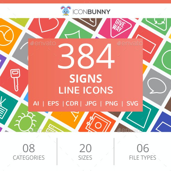 384 Sign Line Multicolor B/G Icons