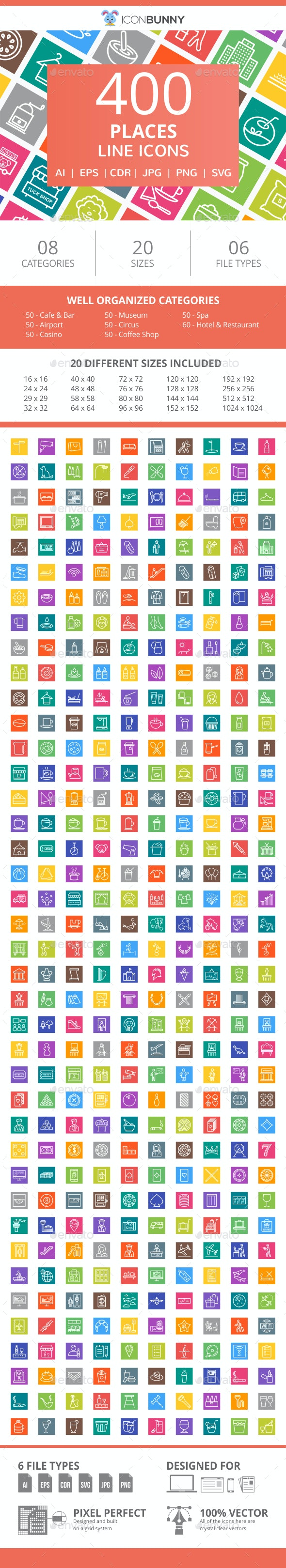 410 Places Line Multicolor B/G Icons - Icons