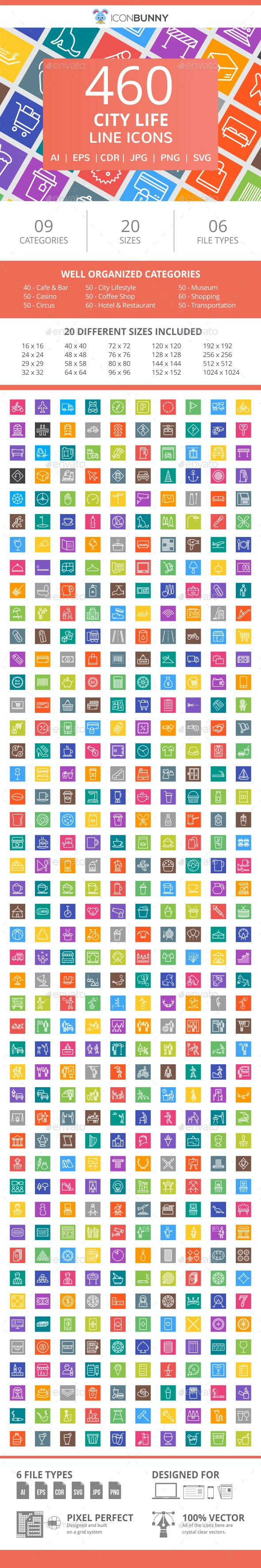 460 City Life Line Multicolor B/G Icons - Icons