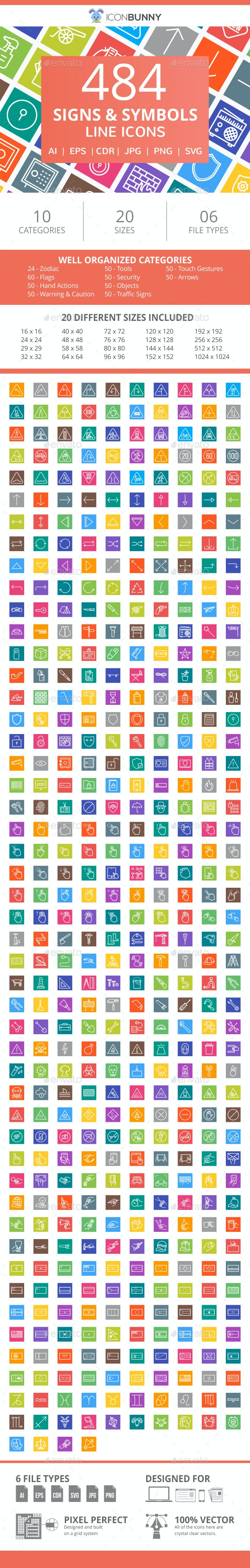 484 Signs & Symbols Line Multicolor B/G Icons - Icons