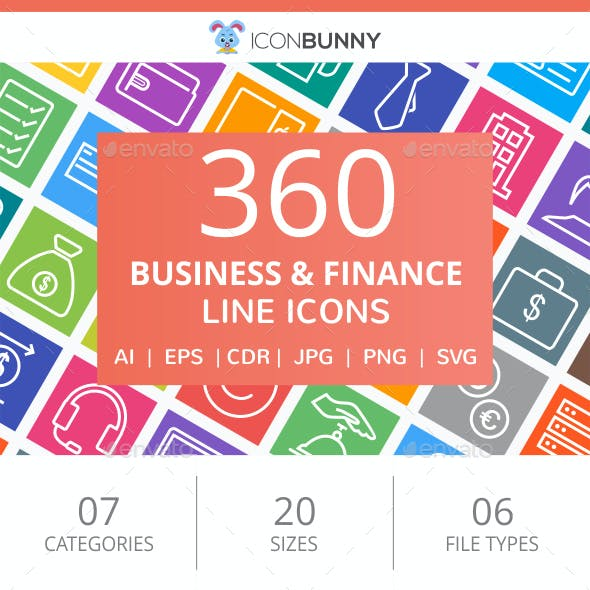 360 Business & Finance Line Multicolor B/G Icons