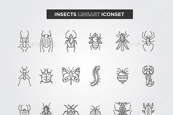 Insects LineArt Vector Set - Animals Characters