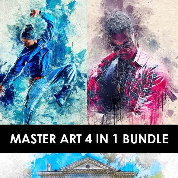 Master Art 4 in 1 Photoshop Action Bundle