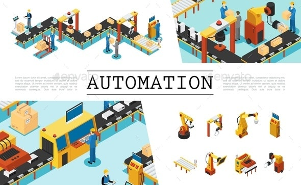 Isometric Automated Factory Elements Set - Miscellaneous Conceptual