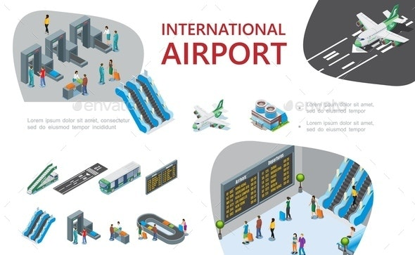 Isometric Airport Composition - Travel Conceptual