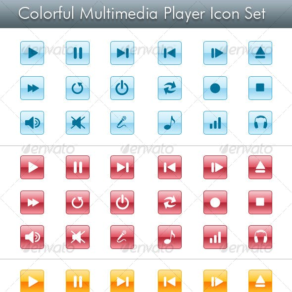 Colorful Multimedia Player Icon Set
