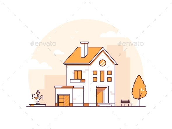 Apartment House - Modern Thin Line Design Style - Buildings Objects