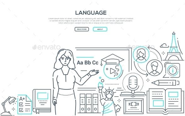 Language Lesson - Colorful Line Design Style - Miscellaneous Conceptual