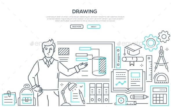 Drawing Lesson - Colorful Line Design Style Banner - Miscellaneous Conceptual