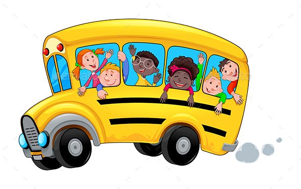 Cartoon School Bus with Happy Students by ddraw | GraphicRiver