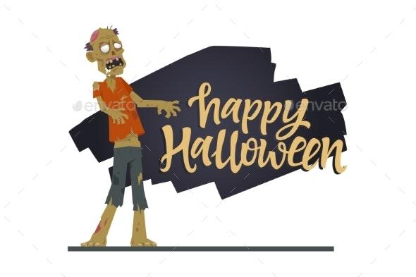 Happy Halloween Poster - Modern Cartoon Character - Halloween Seasons/Holidays