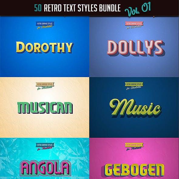 50 Retro Text Styles - Bundle vol. 01