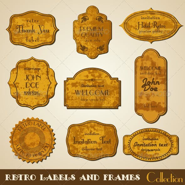 Set of grunge retro vector Labels and Frames