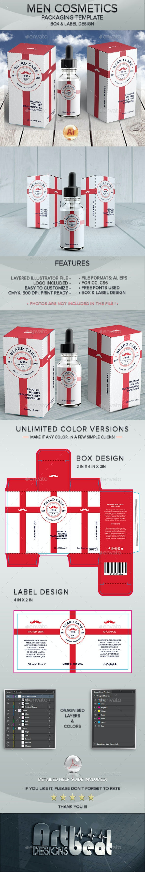 Beard Care Cosmetics - Packaging and Label Template - Packaging Print Templates