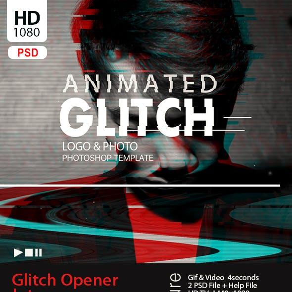 Animated Glitch Text - Logo -Image  Photoshop Template