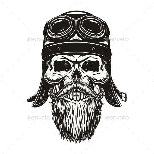 Biker Skull Sketch in Helmet and Glasses - Monsters Characters