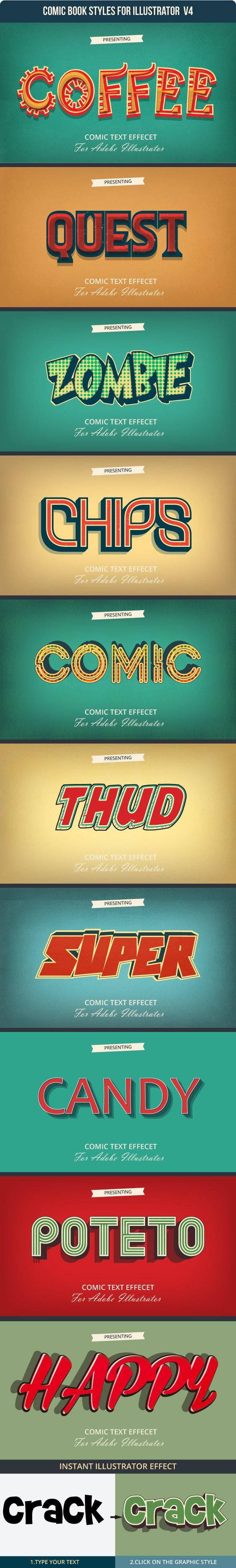 Game & Comic Text Effect for Adobe Illustrator - Styles Illustrator