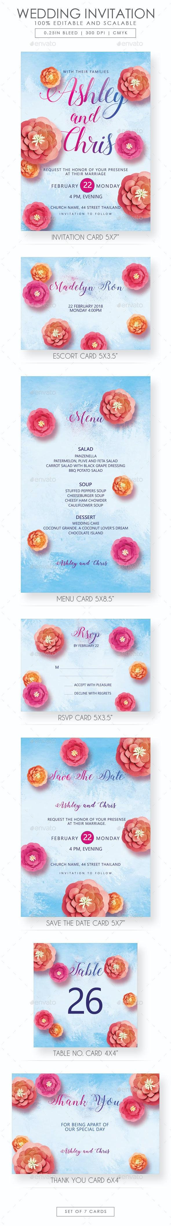 Floral Wedding Invitation Suite - Wedding Greeting Cards