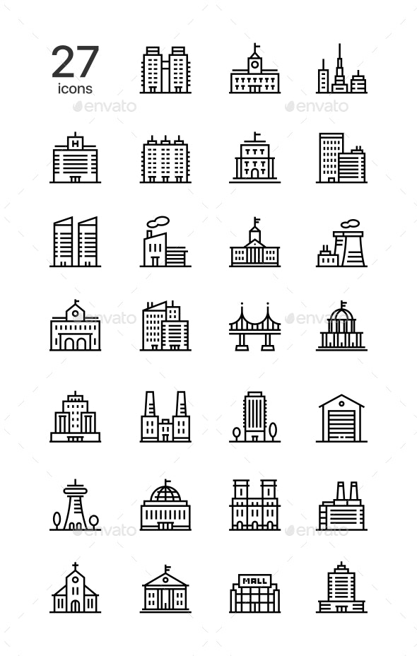 Buildings, Real Estate, House Icons for Web and Mobile Design Set - Buildings Objects
