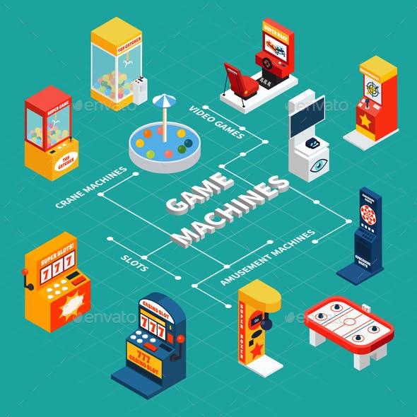 Game Machine Isometric Infographics