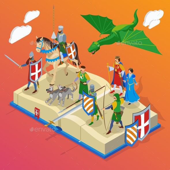 Medieval Fantasy Book Composition - Miscellaneous Vectors