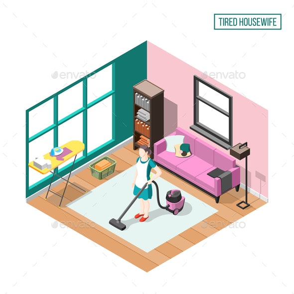 Tired Housewife Isometric Composition - Services Commercial / Shopping