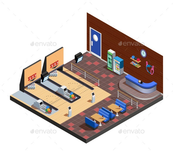 Bowling Club Interior Isometric Composition - Sports/Activity Conceptual