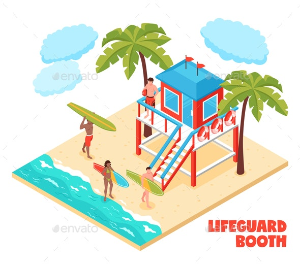 Lifeguard Booth Isometric Composition - Miscellaneous Vectors